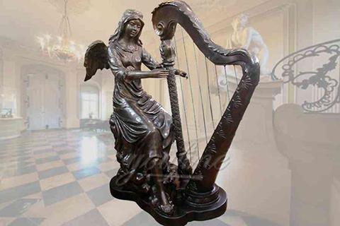 Outdoor elegant sitting bronze angel statue with harp