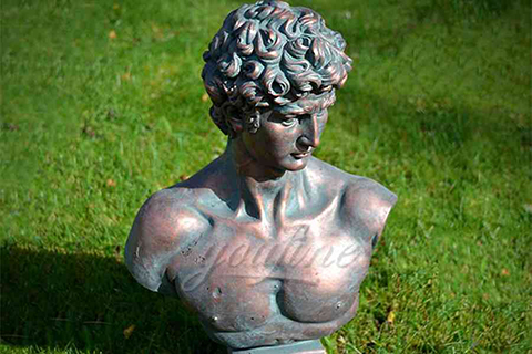 Antique famous bronze David bust statue for sale