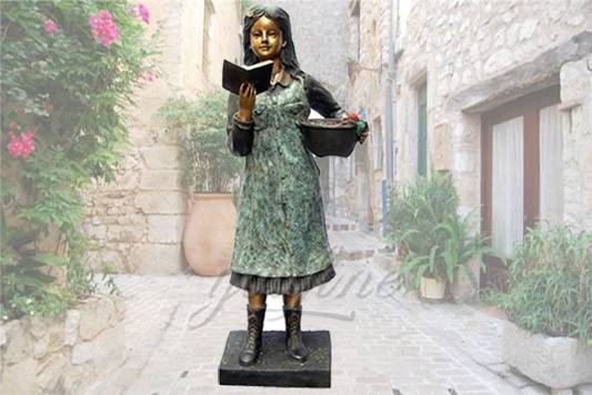 Life size outdoor garden bronze girl reading statue