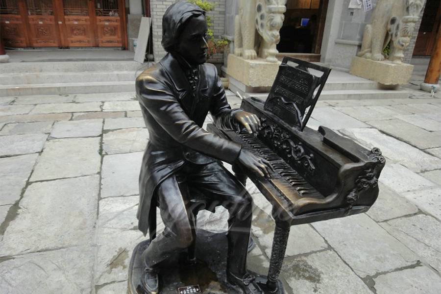Life size classical street sitting bronze pianist sculpture