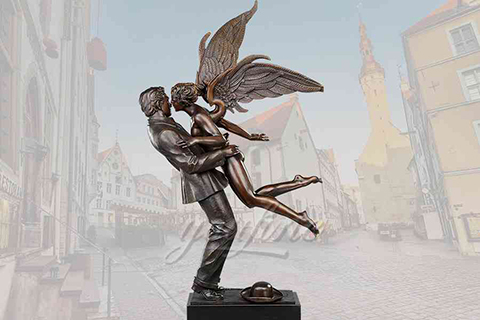Decorative garden lover kiss bronze angel statue