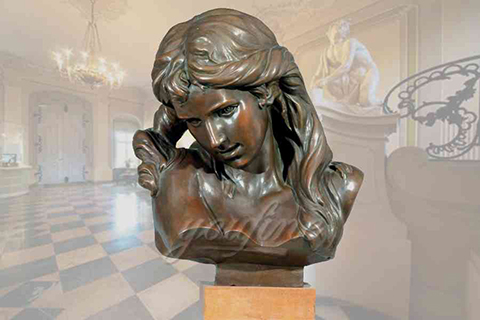 Elegant decorative indoor bronze girl bust statue for sale