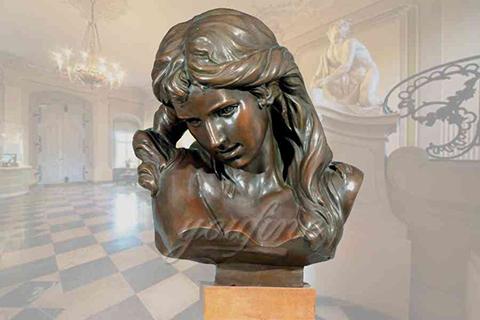 Elegant decorative indoor bronze girl bust statue for sale