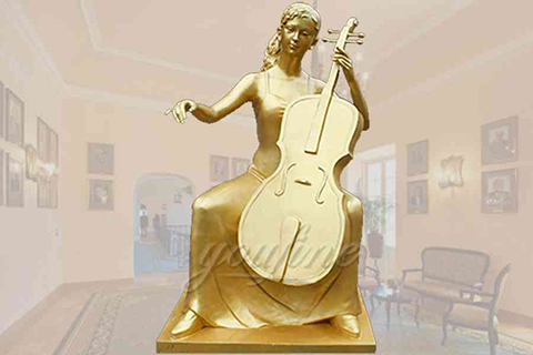 Elegant golden sitting cellist bronze garden statue for deco
