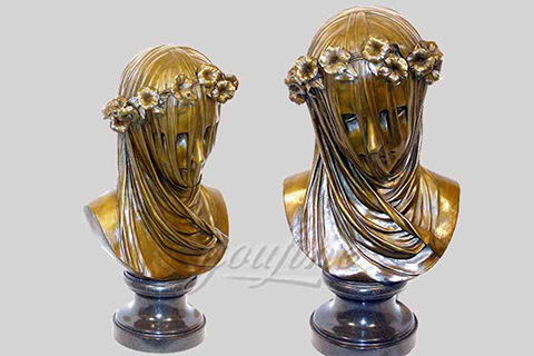 Exquisite life size indoor veiled bronze girl bust statue with wreath