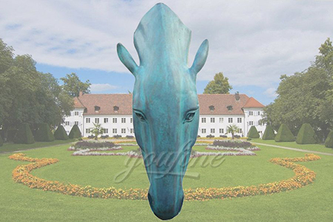 Large Garden Bronze Horse Head Statue