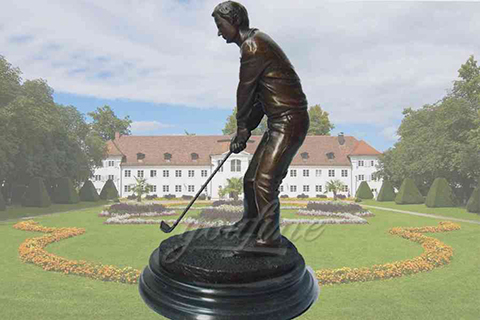 Leisurely life size outdoor bronze golf garden statue
