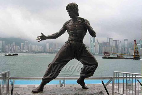 Life size famous kongfu garden bronze Bruce Lee statue