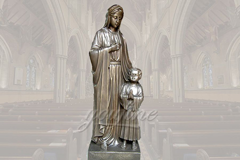 Classical life size religious bronze Mary and Jesus statues for church