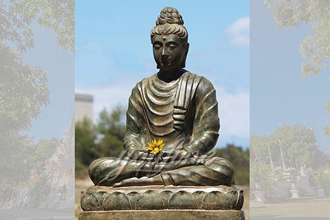 Antique outdoor eastern sitting bronze buddha statues