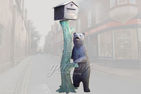 Garden Bronze Mailbox Statue With Bear