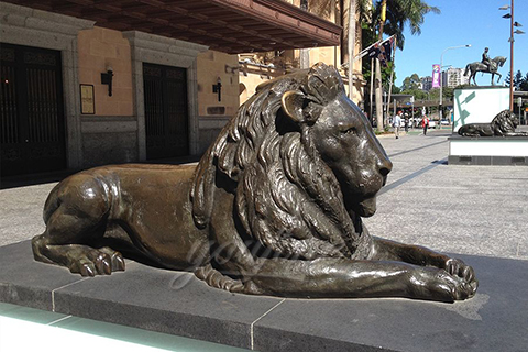 Antique Life Size Bronze Lion Statues