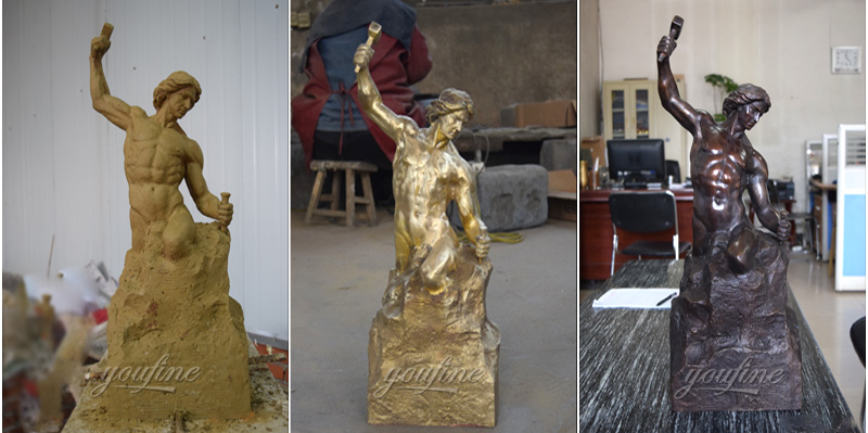 large bronze self made man statue for office desktop