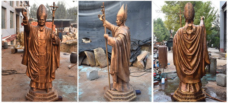 Custom large Bronze Pope statue for church