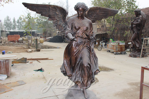 Life size big bronze angel figurines guardian angel statue