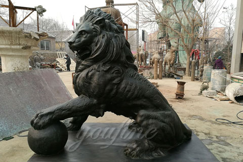 Metal large bronze lion statue for sale