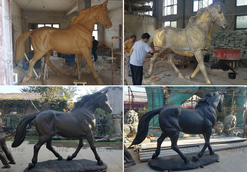 life size bronze black standing horse sculptures for sale