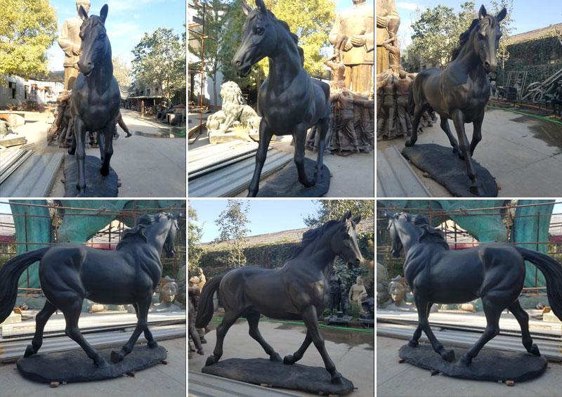 life size bronze black standing horse sculptures