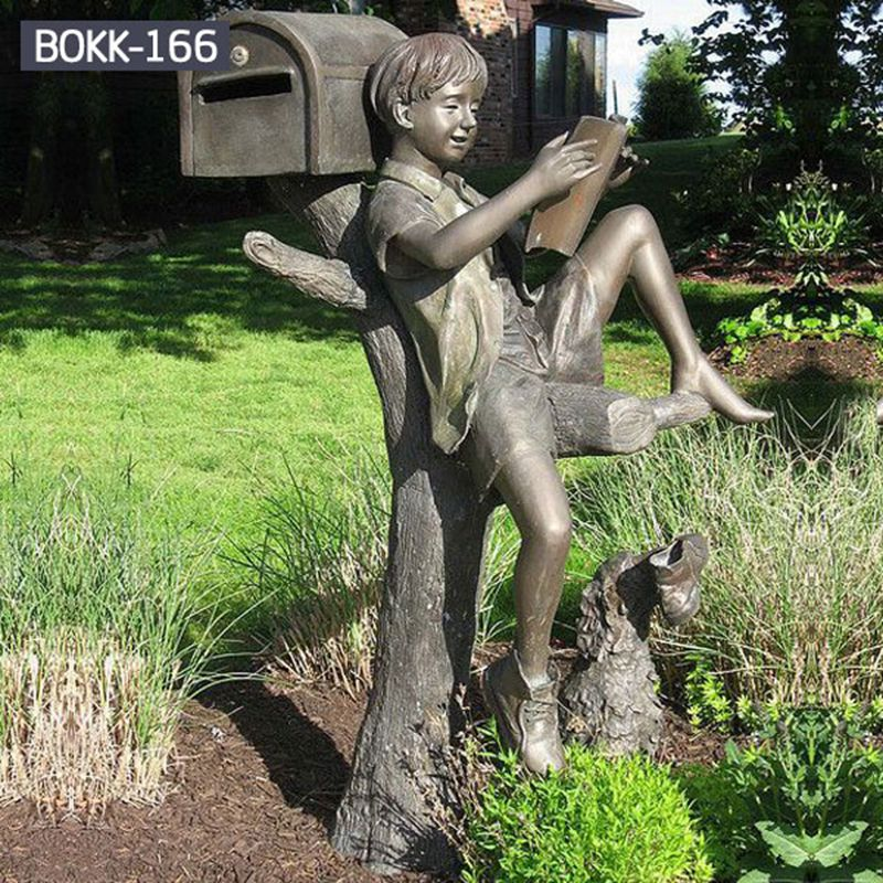 Customized Bronze Reading Boy Statue for Outdoor Decoration BOKK-166