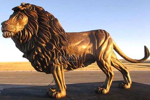 Life Size Bronze Raising Head Lion Statue Ornament for Garden BOKK-680