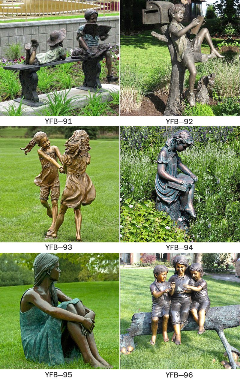 Garden Decoration Bronze Children on the Bench Sculpture BOKK-169