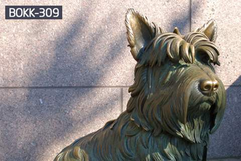 Famous Bronze Pet Dog Fala Statue of U.S. President Franklin Roosevelt in FDR Memorial BOKK-309
