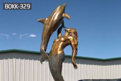 Garden Sculpture Life Size Bronze Mermaid and Dolphin Sculpture from Factory Supply BOKK-329