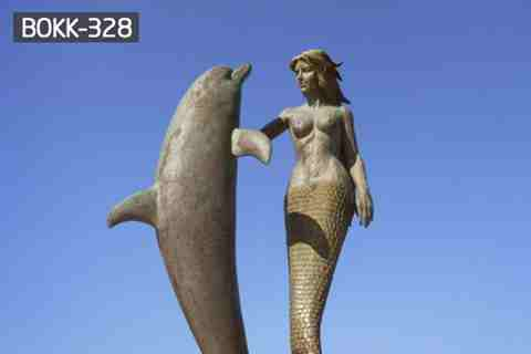 Large Beautiful Bronze Mermaid and Dolphin Sculpture Outdoor Metal Sculpture BOKK-328