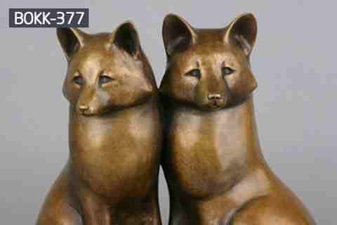 Casting Cute Bronze Fox Statue Animal Sculpture for Garden BOKK-377