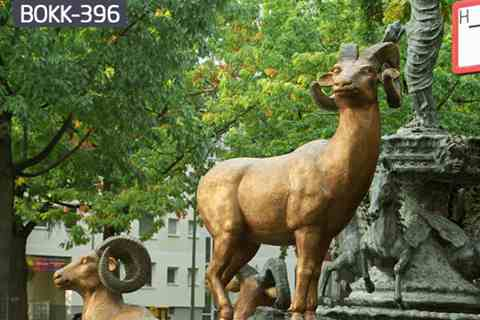 Factory Supply Bronze Bighorn Sheep Sculpture Outdoor Garden Ornament BOKK-396