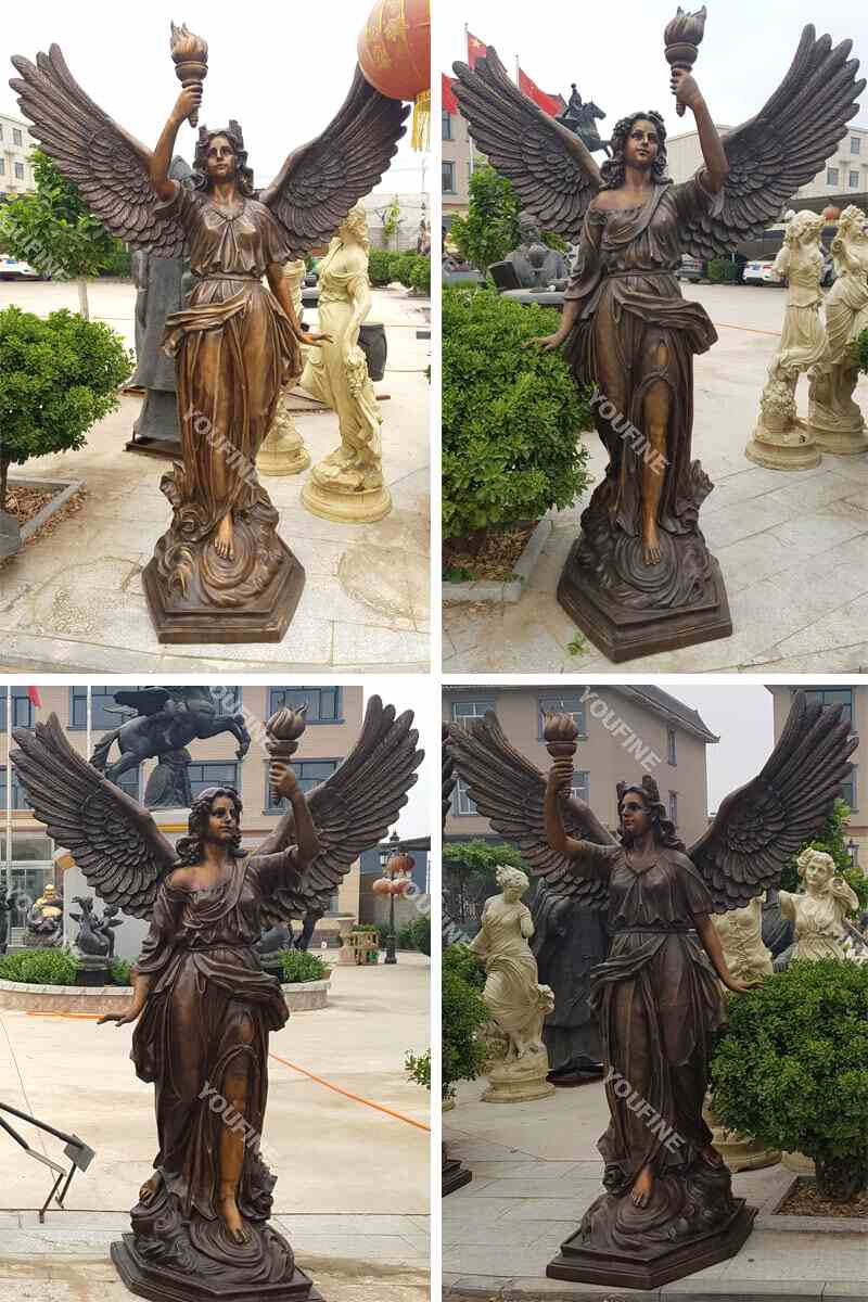 Beautifully Cast Life Size Bronze Female Angel Statue BOKK-5