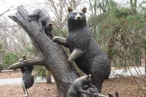 High Quality Cast Bronze Bear Family Sculpture Garden Animal Decor BOKK-290