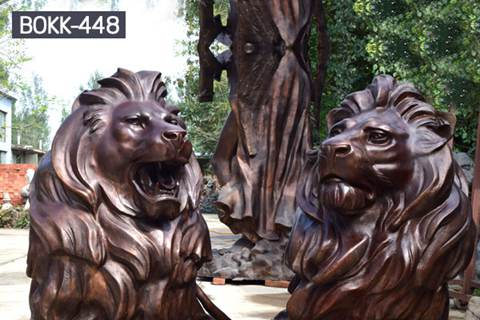 Hot Sale Life Size Red Bronze Lion Statue for Garden BOKK-448