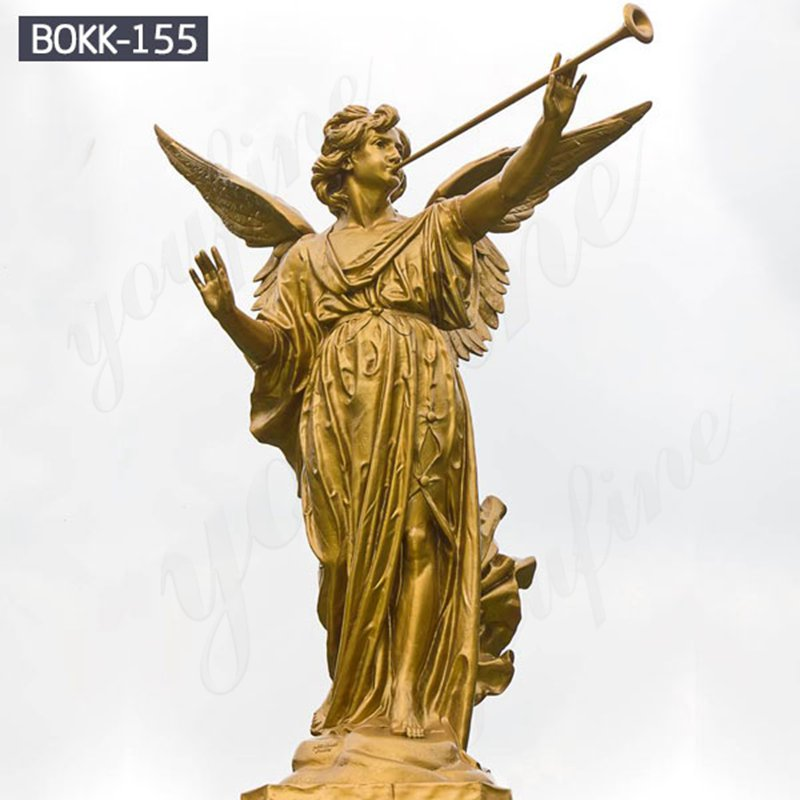 Classic Garden Bronze Angle Statue with Big Wings
