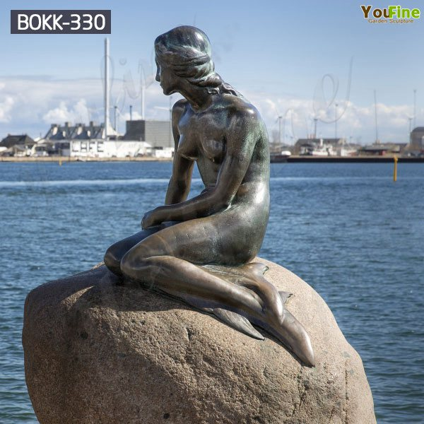 Life Size Outdoor Bronze Mermaid Statue Sitting on Rock for Sale