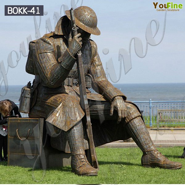 Sitting Bronze Memorial Soldier Statue Monument Manufacturer BOKK-41