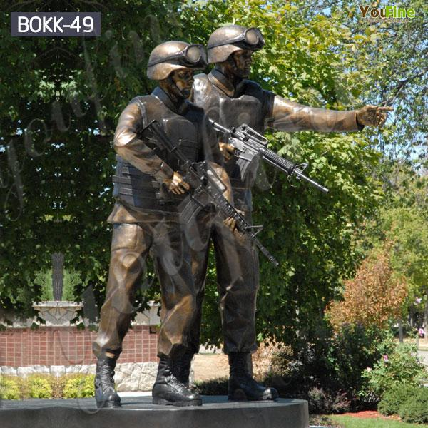 Customized Outdoor Bronze Military Man Soldiers Sculpture Factory Supplier BOKK-49