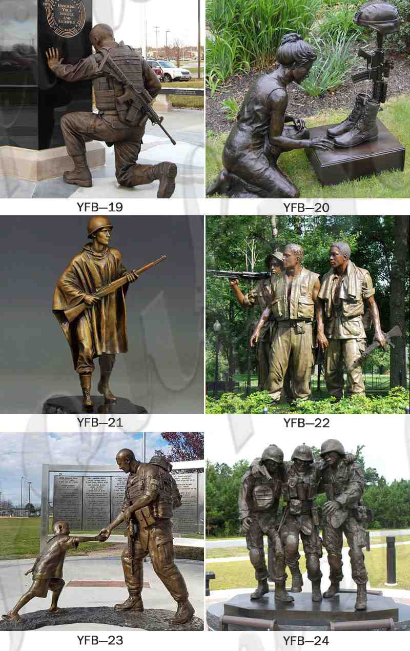 Kneeling Bronze Memorial Hero Soldier Statue Monument Manufacturer