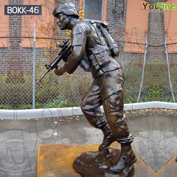 Life Size Customized Memorial Soldier Outdoor Standing Bronze Statue for Sale