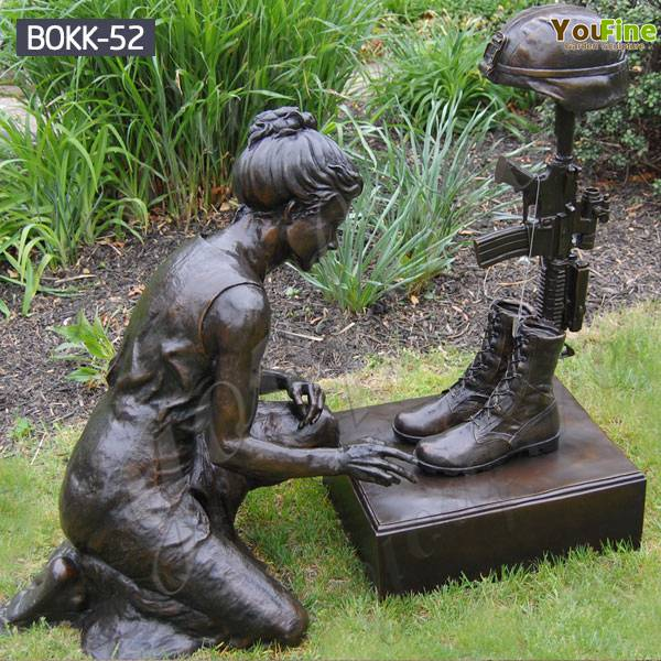 Outdoor Kneeling Soldier Military Bronze Statue Monument for Sale BOKK-52