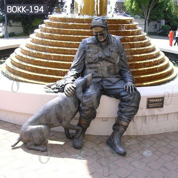 Bronze Soldier and Dog Sculpture Monument for Sale BOKK-194