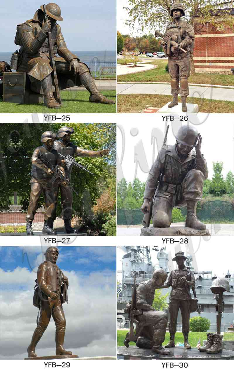 Life Size Outdoor Military Bronze Soldier and Dog Sculpture (2)