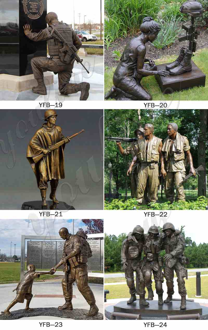 Life Size Casting Bronze Soldier Statue with A Girl Sale BOKK-195
