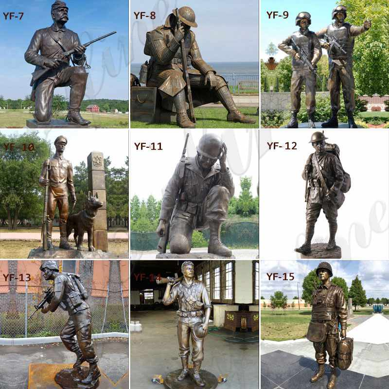 Casting Custom Bronze Soldier Dog sculpture Monument for