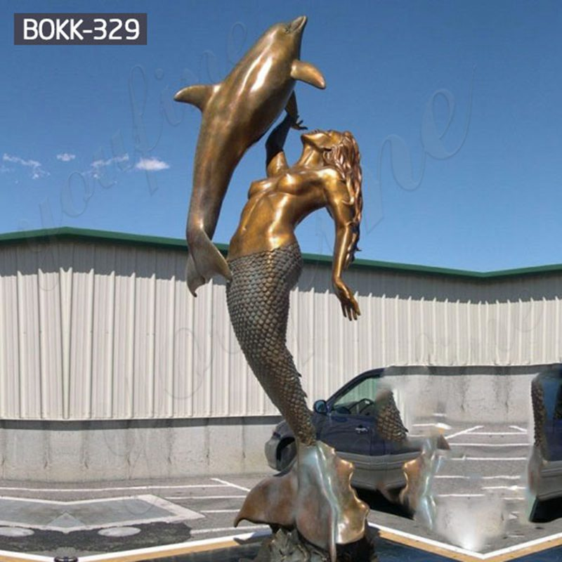 Beach Decoration Bronze Mermaid Statue with Dolphin for Sale