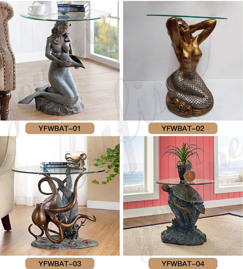 Home Decoration Bronze Mermaid Statue Coffee Table for BOKK-332
