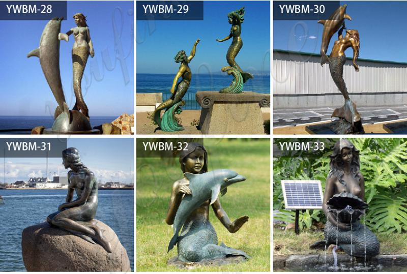 Bronze Mermaid Statue Sitting on Rock for Sale BOKK-333