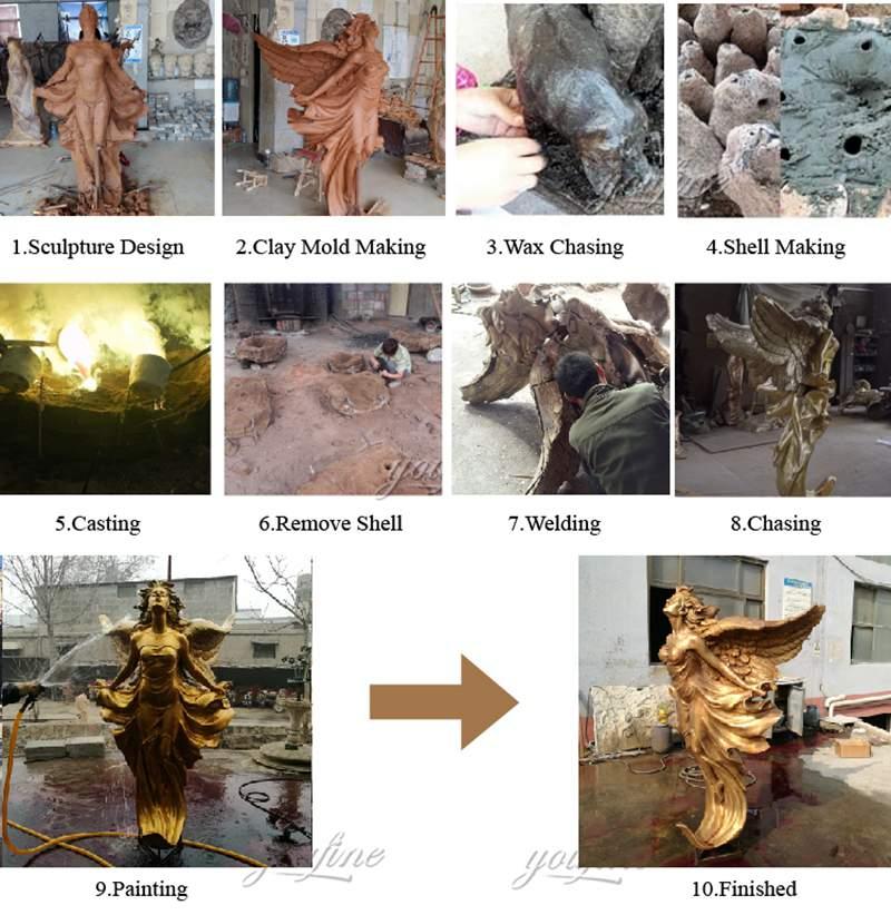 Bronze Angel Sculpture Kneeling Angel for Sale MOKK-821