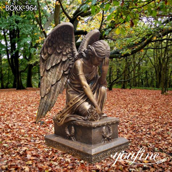 Life Size Bronze Angel Sculpture Kneeling Angel for Sale MOKK-821
