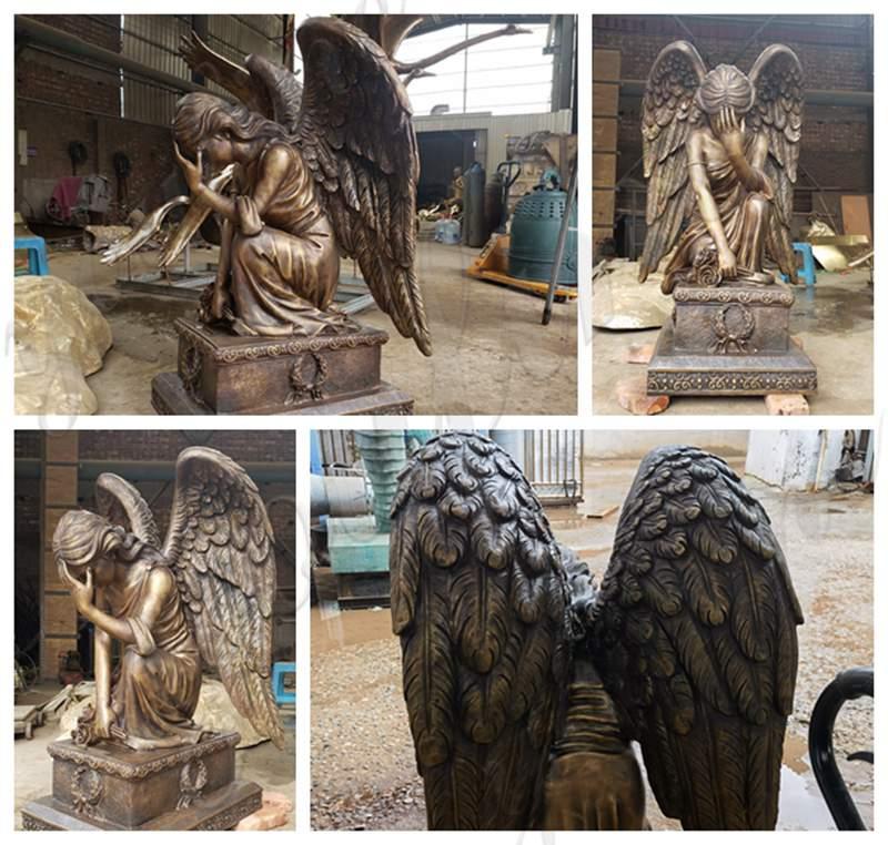 Life Size Bronze Angel Sculpture Kneeling Angel for Sale